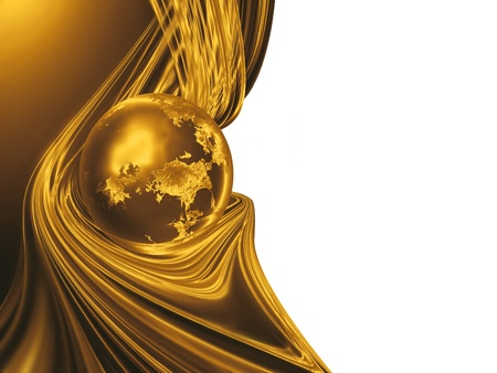 golden globe: golden planet with threads of gold - business background