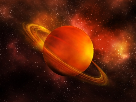 and saturn: the planet Saturn in space Stock Photo