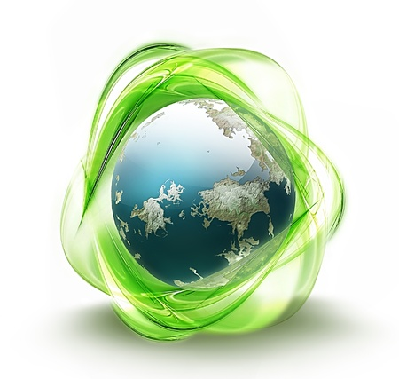 recycler: recyclage vert symbole de terre - symbole concept d'�cologie