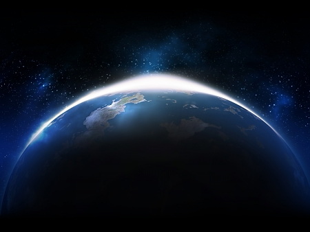 earth moving: Sunrise from space - computer generated  for your projects Stock Photo