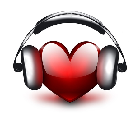 red sound: heart with headphones - the concept of a music lover Stock Photo