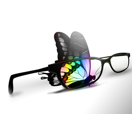 colorful butterfly and eyeglasses on a white background photo