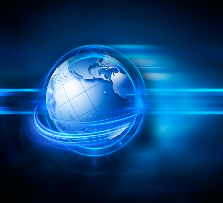 global background: modern technology background with world and lights