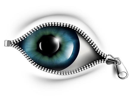 er�ffnung: Rei�verschluss�ffnung das Auge auf einem wei�en Hintergrund