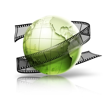 3d image: globe with film strip on a white background
