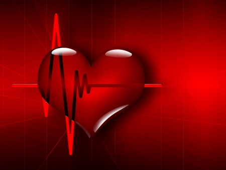 Medical background with ECG and heart photo