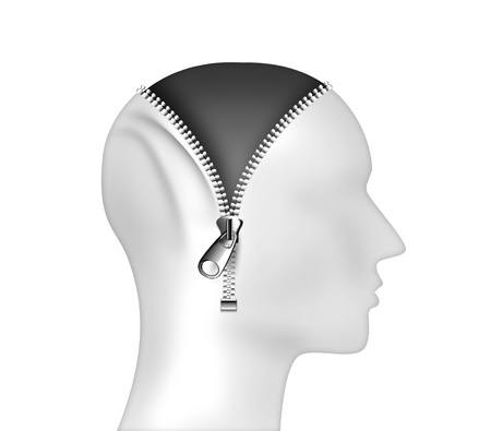 open mind: Zipper opening a mans head