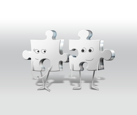 couple together: a pair of boy and girl puzzle Stock Photo