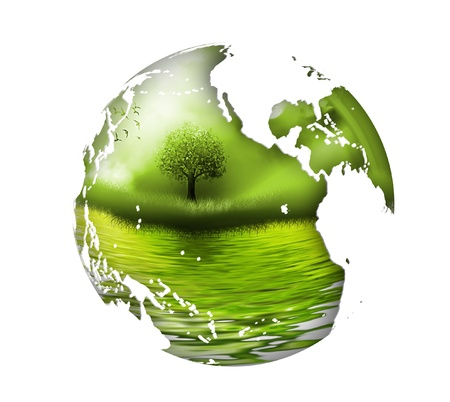 energy conservation: planet with tree inside - the concept of the environment