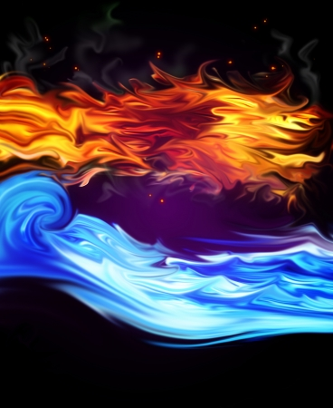 fire and water on a black background