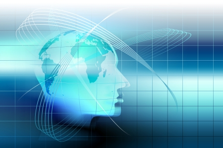 abstract technology background with a human head photo