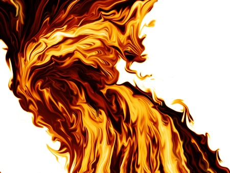 dynamic heat black: stream of fire on a white background