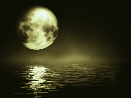 horizon over water: moon over the sea - night landscape