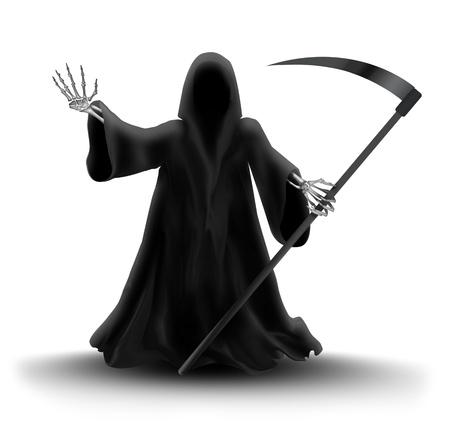 scythe: imagen con Grim Reaper en el fondo blanco Foto de archivo