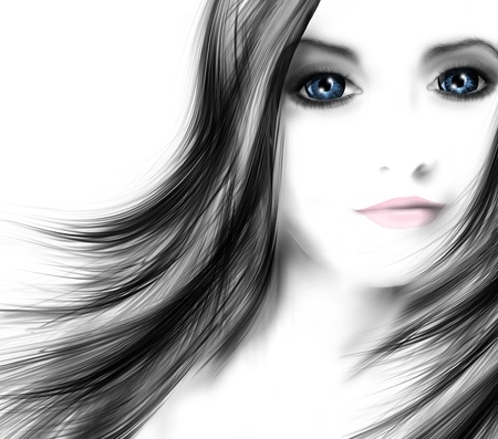 young woman with flowing hair Stock Photo