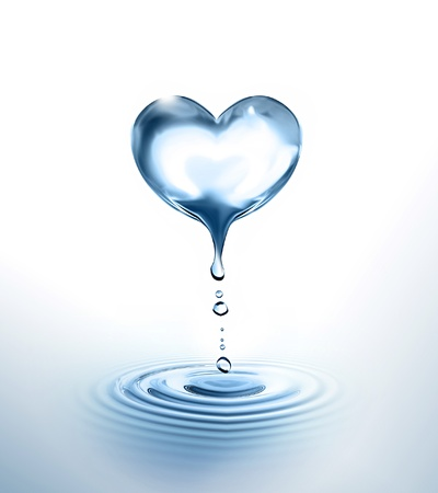 water reflection: dripping Heart over the water