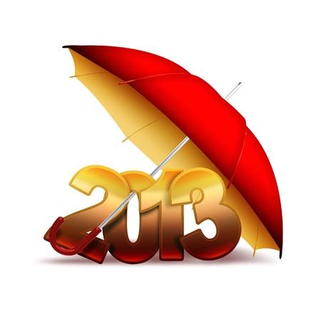 next year: figures 2013 under the umbrella Stock Photo