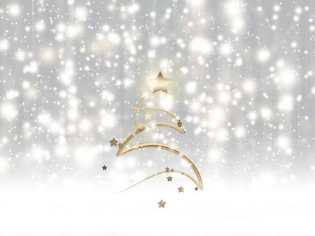 Winter card with falling snow and Christmas tree photo