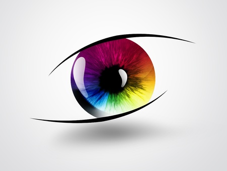 purple iris: rainbow eye on a light background