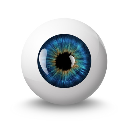 eyes open: eyeball with shadow on white background