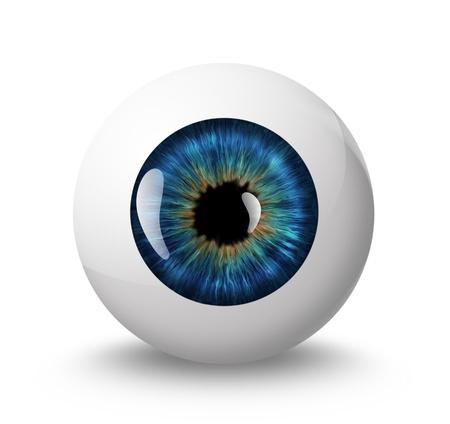 globo ocular: Globo ocular com sombra no fundo branco Banco de Imagens