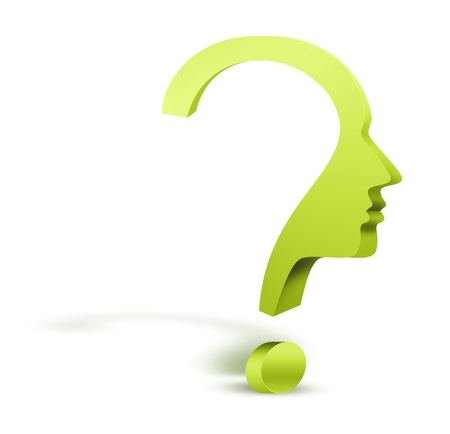brain work: question mark human head symbol Stock Photo