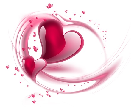 Romantic background with hearts Stock Photo