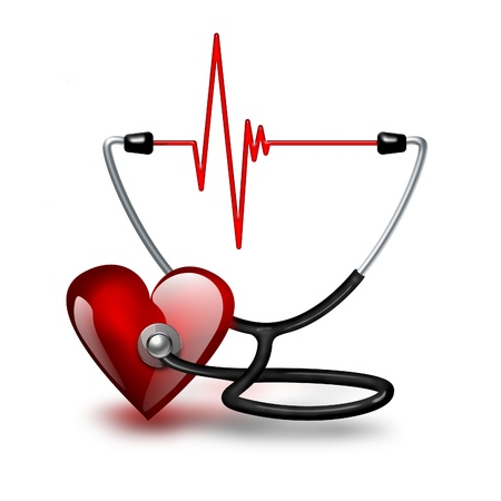 listening to heartbeat: Listening heartbeat concept with heart and stethoscope