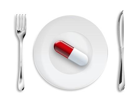 plato del buen comer: Antecedentes médicos con una píldora en el plato Foto de archivo