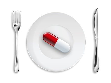 Medical background with a pill on the dish photo