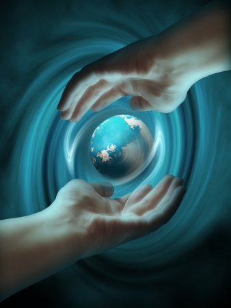 Human hands create earth globe  photo