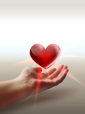 corazon en la mano: Coraz�n en la mano - concepto de protecci�n Foto de archivo