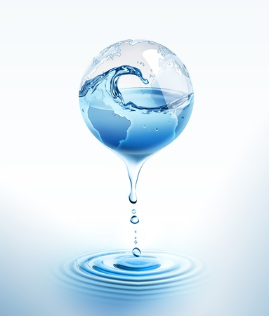energy conservation: world with dripping water Stock Photo