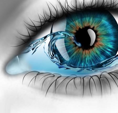 ojos: parte del ojo con agua en el interior Foto de archivo
