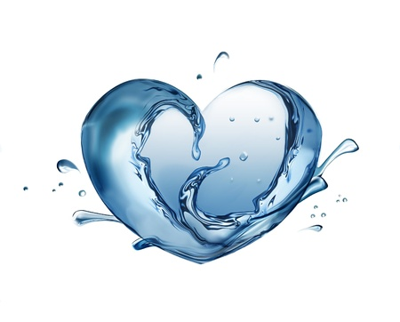 Water heart on white background photo