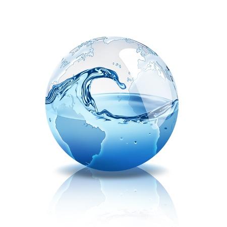 waterbesparing: wereld met water in