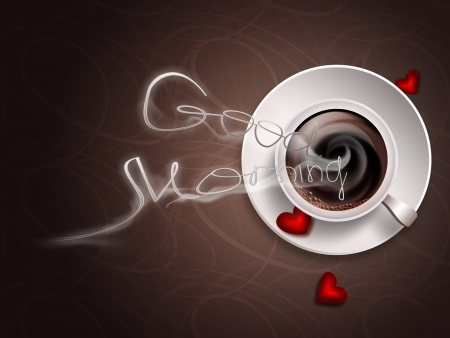 good morning - concept image with hot coffee photo