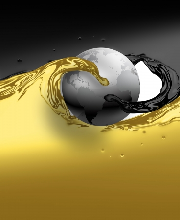 yellow earth: abstract waves of black and yellow oil around the planet
