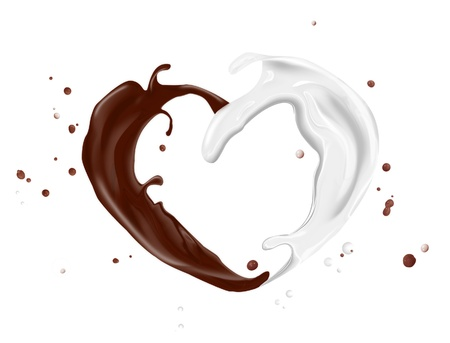 splash of milk and chocolate isolated on a white background photo