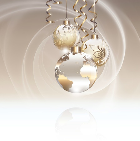 golden globe: Worlds Christmas baubles background
