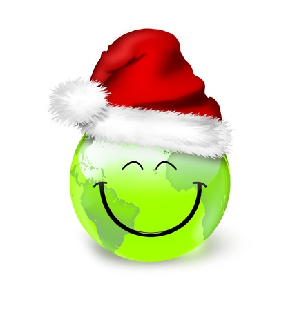 green smiley face: Global Christmas planet concept - smile green world in santa hat