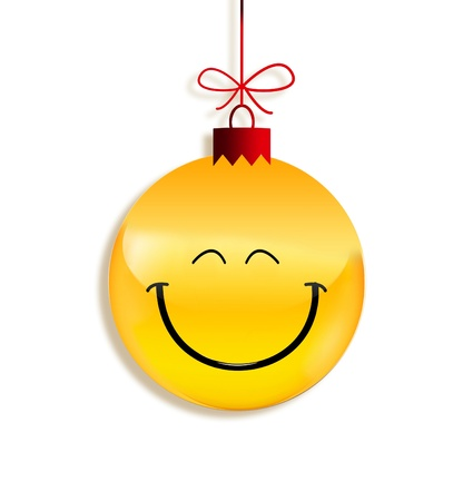 round: paper emoticon as Christmas ball