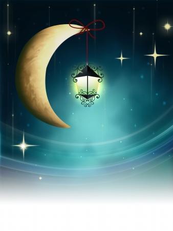 Night fairy tale - lantern on a crescent moon photo
