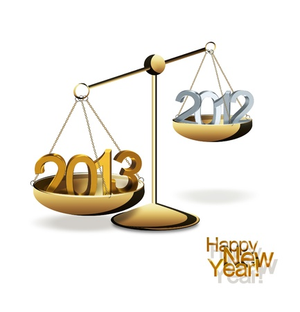 concept of the new year with numbers on brass scales photo