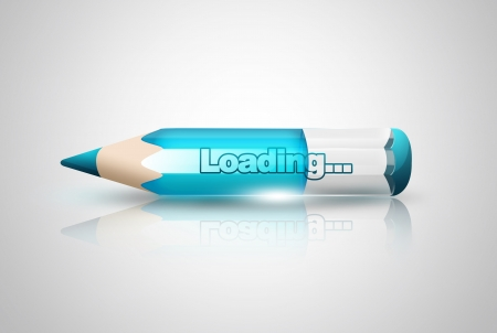 interface elements: loading pencil on light background Stock Photo