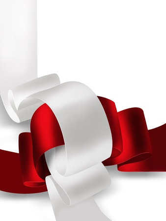 curled up: abstract background with red and white ribbon