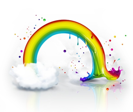 end of the rainbow splash in the clouds