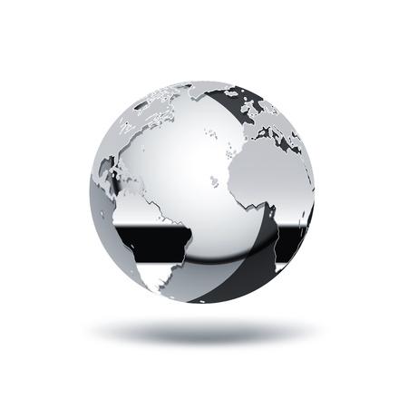 chroom wereld op een witte achtergrond