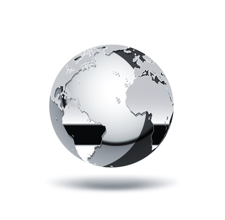cromo mundo sobre un fondo blanco