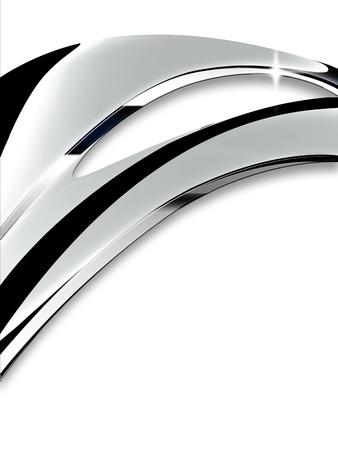 cromo: Wave de cromo sobre un fondo blanco Foto de archivo